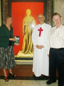 Christine with Father Paolo and Harry, the Medieval Magdalene in the background.